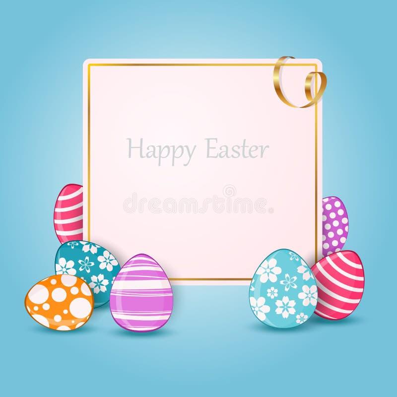 Cartão de Páscoa feliz com ovos coloridos e lugar para o texto ilustração do vetor