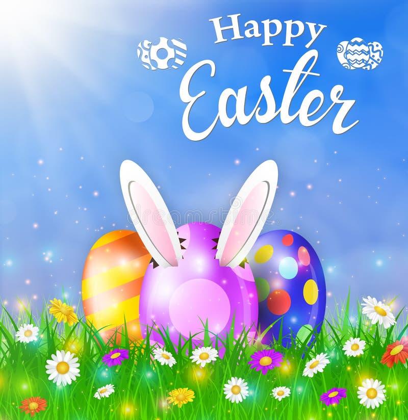 Cartão de Páscoa feliz com ovos, grama, flores ilustração stock