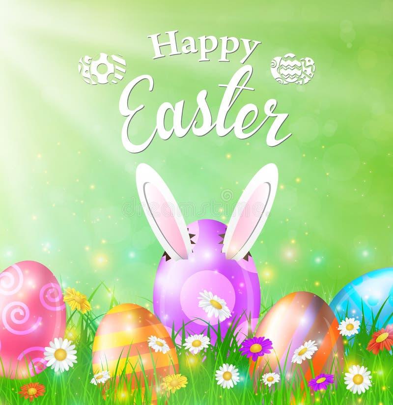 Cartão de Páscoa feliz com ovos, grama, flores ilustração royalty free