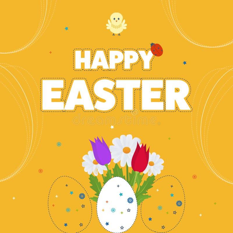 Cartão de Páscoa feliz com ovos, grama, flores Cartaz, cartão ilustração stock
