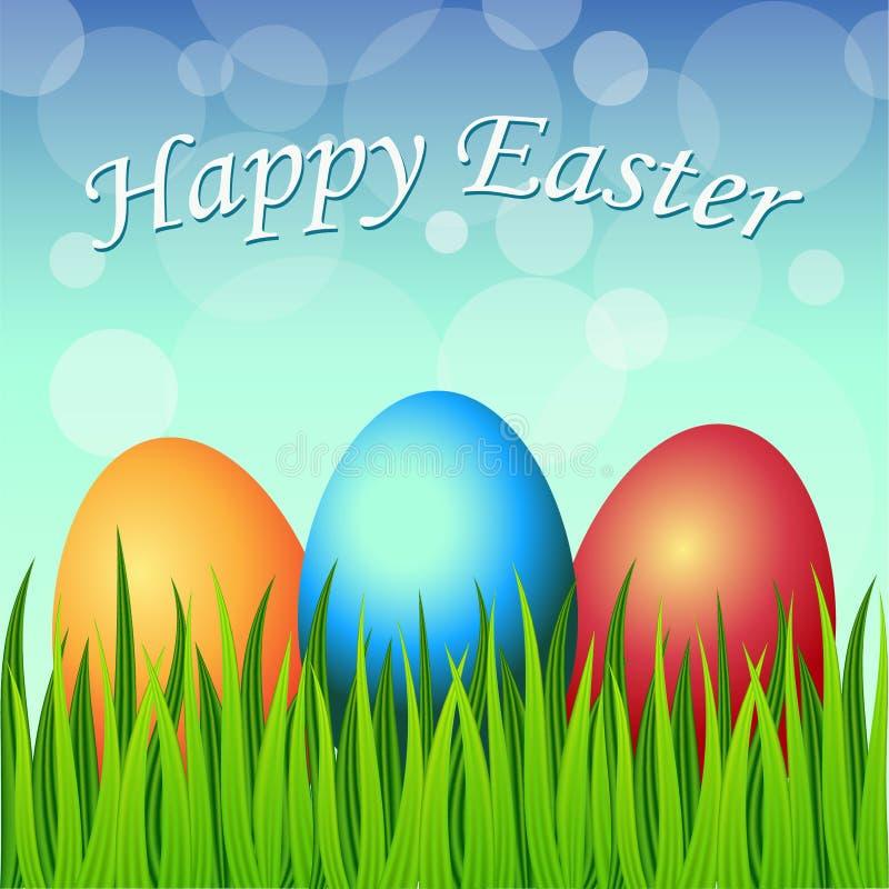 Cartão de Páscoa feliz com ovos, grama, flores imagem de stock