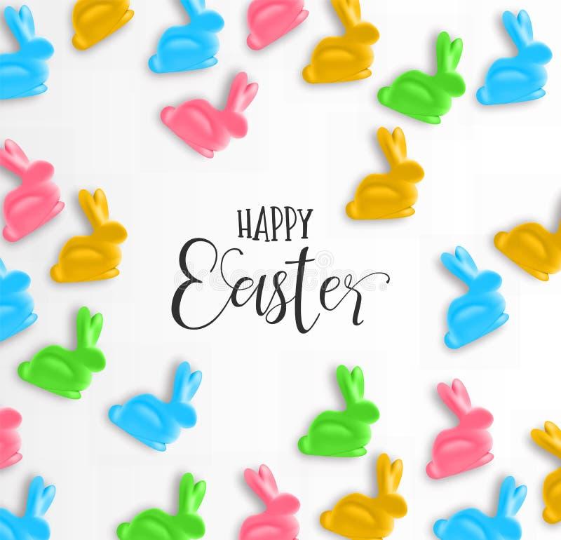 Cartão de Páscoa feliz do coelho colorido dos doces ilustração do vetor