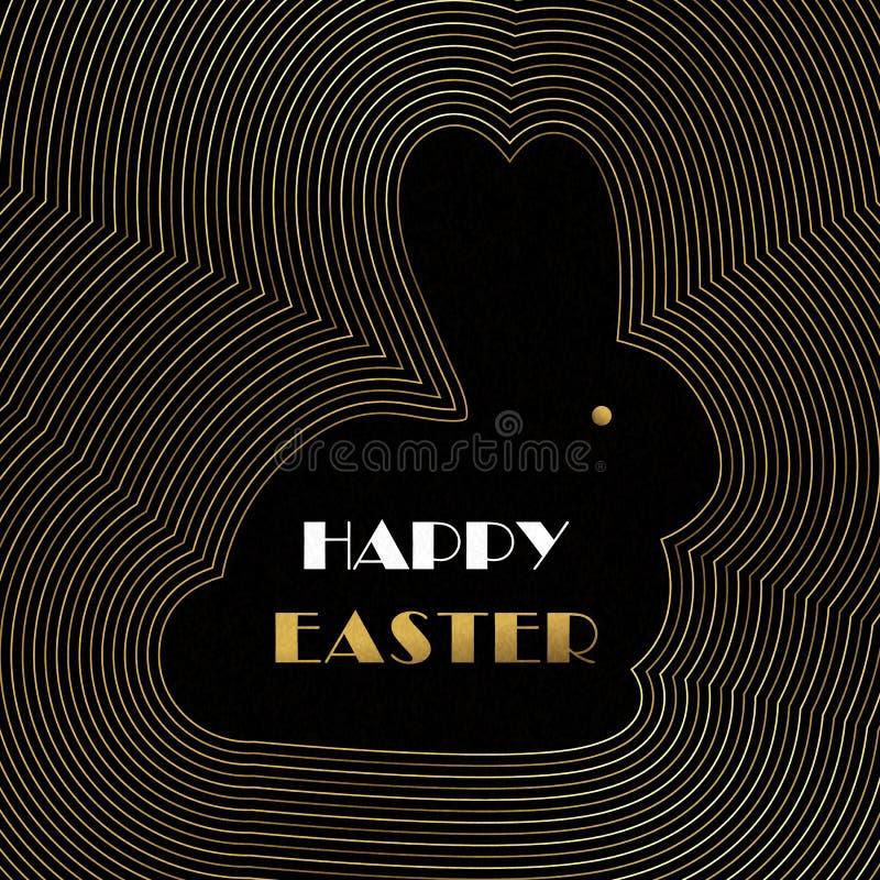 Cartão de Páscoa feliz do coelho do esboço do art deco do ouro ilustração do vetor