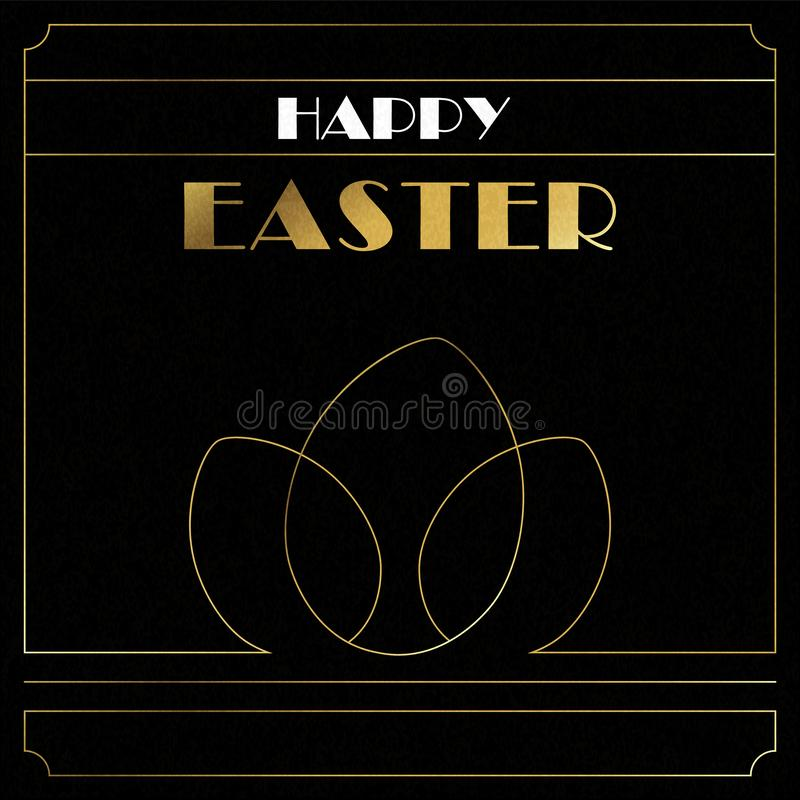 Cartão de Páscoa feliz de ovos do art deco do ouro ilustração royalty free