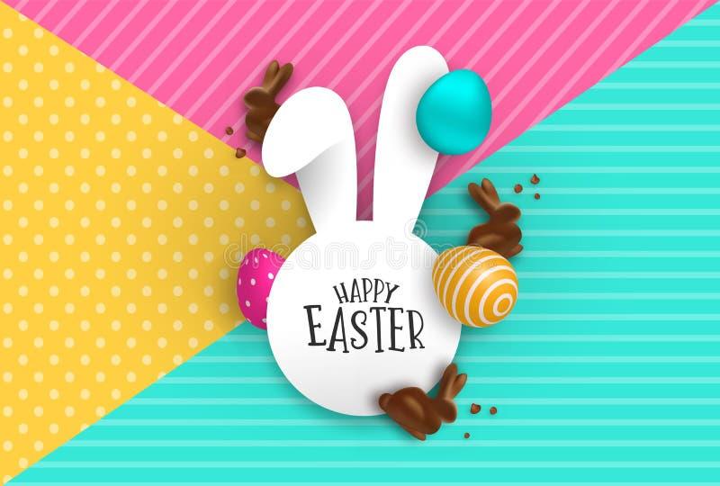 Cartão de papel da Páscoa do coelho do chocolate e dos ovos 3d ilustração do vetor