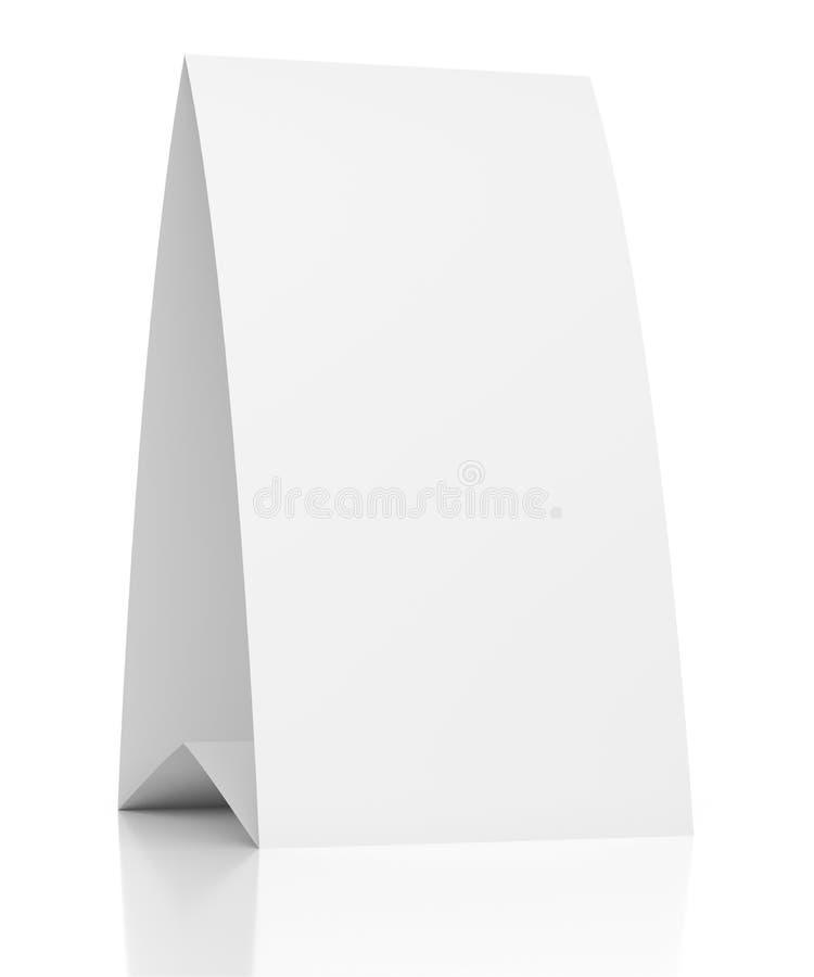 cartão de papel de tabela 3d vazia no branco ilustração do vetor