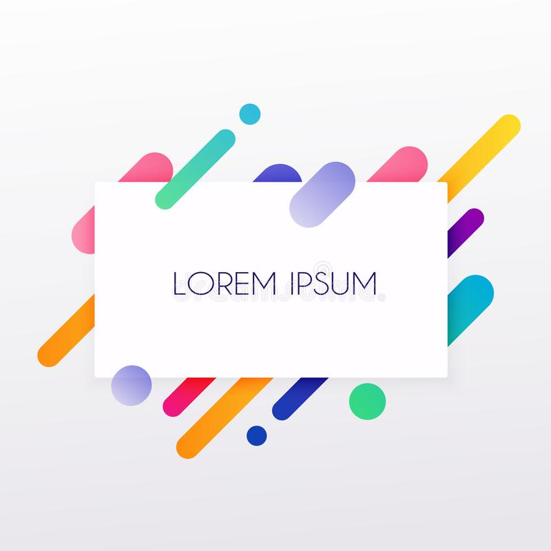 Cartão de papel e formas coloridas abstratas Linhas e círculos de néon Conceito para bandeiras da Web, Web site, infographics ilustração stock