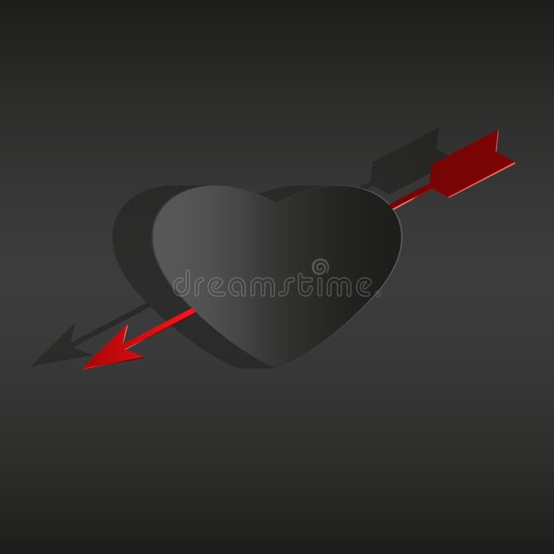 Cartão de papel preto do dia de Valentim do coração no vetor branco do fundo ilustração do vetor