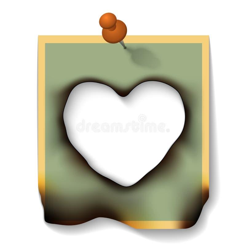 Cartão de papel queimado com o coração do furo dado forma ilustração do vetor