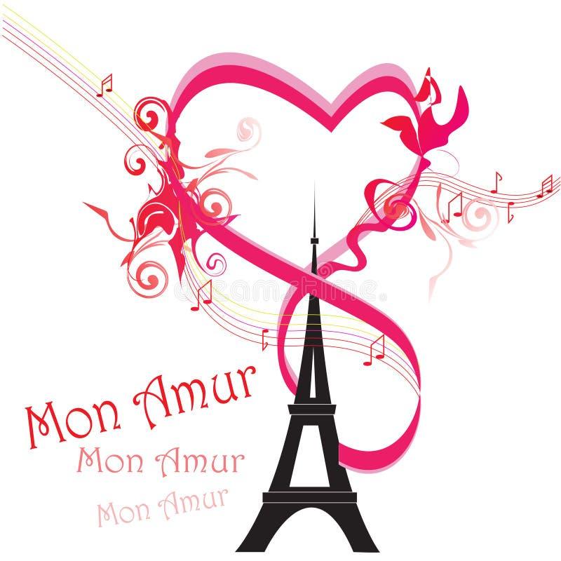 Cartão de Paris como o símbolo do amor ilustração do vetor