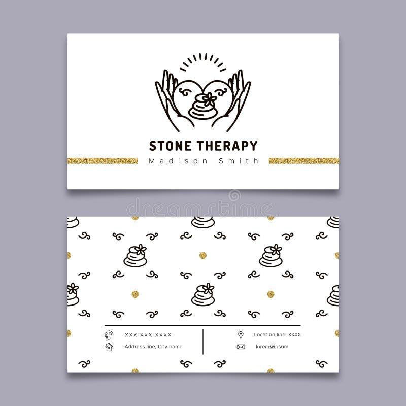 Cartão de pedra da terapia A massagem, termas da beleza, relaxa, medicina natural ilustração royalty free
