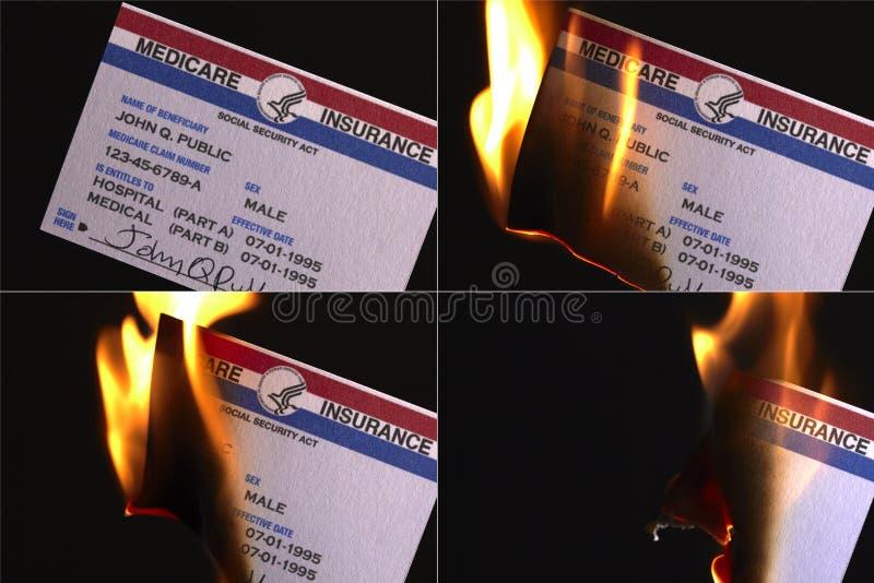 Cartão de queimadura do seguro dos E.U. Medicare foto de stock