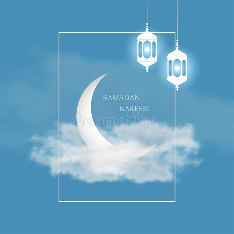 Cartão de Ramadan Kareem com crescente islâmico, a lanterna árabe Fanus e o quadro no fundo do céu com nuvens Vetor ilustração do vetor