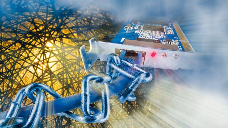 Cartão de relação da rede virtual privada Seguran?a do Cyber Terra abstrata ilustração do vetor