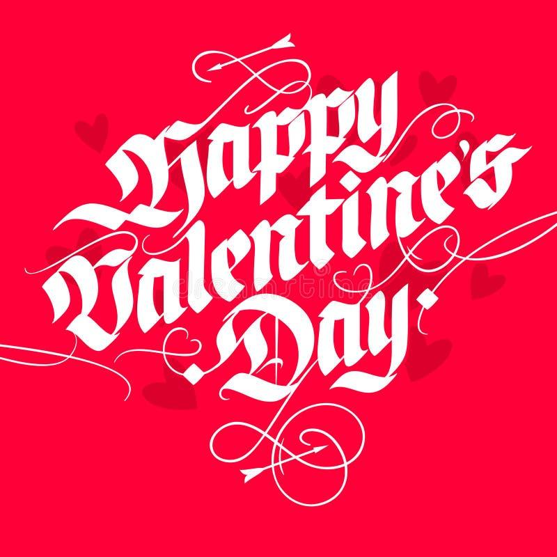 Cartão de rotulação do dia do ` s do Valentim no estilo do vintage ilustração do vetor