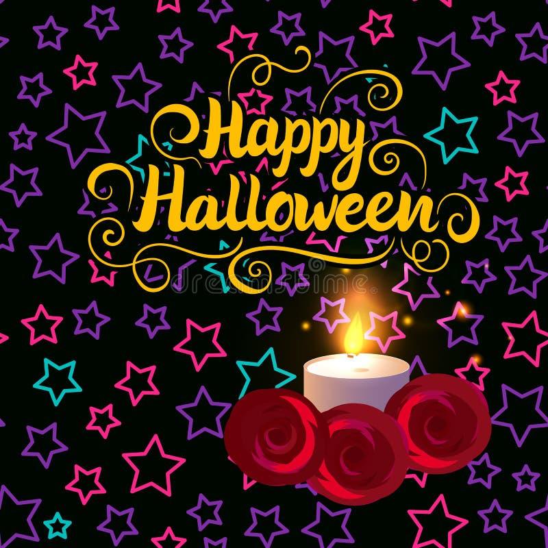Cartão de rotulação feliz do Dia das Bruxas Velas da incandescência Ilustração do vetor com fundo do projeto das crianças ilustração do vetor