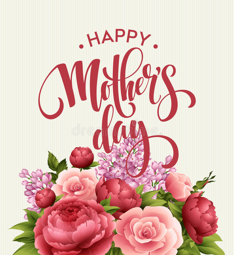 Cartão de rotulação feliz do dia de mães Cartão de Greetimng com flor Ilustração do vetor ilustração stock
