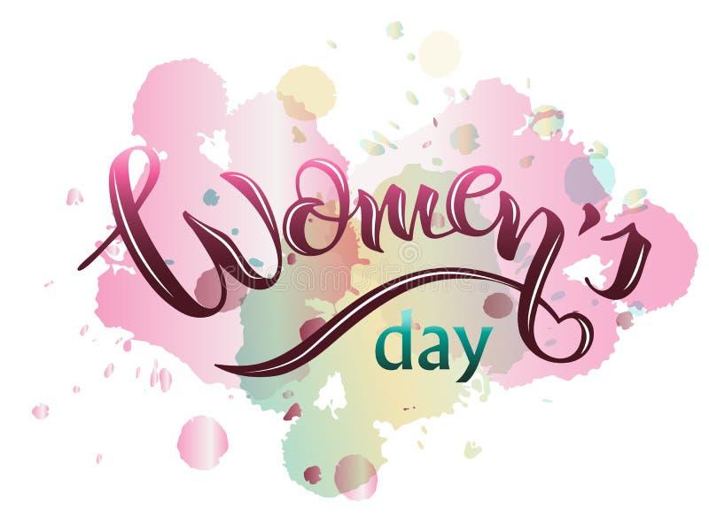 Cartão de rotulação para o dia das mulheres ilustração stock