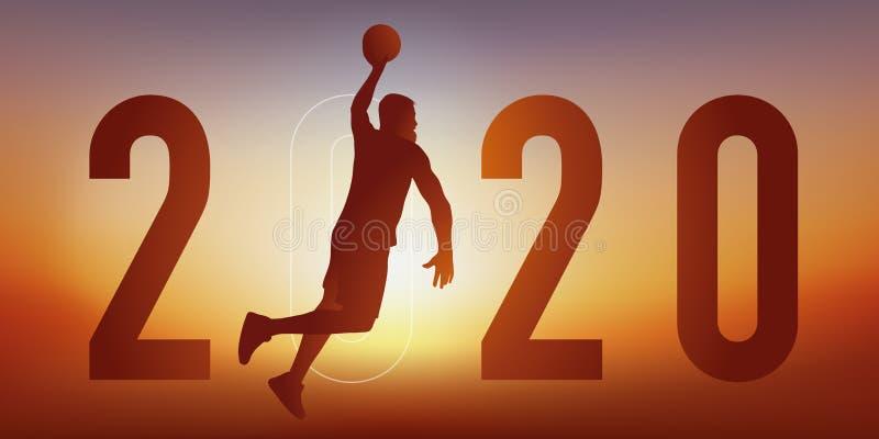 Cartão de saudação com tema desportivo de 2020, com um jogador de basquete, salta o braço estendido para marcar uma cesta ilustração do vetor