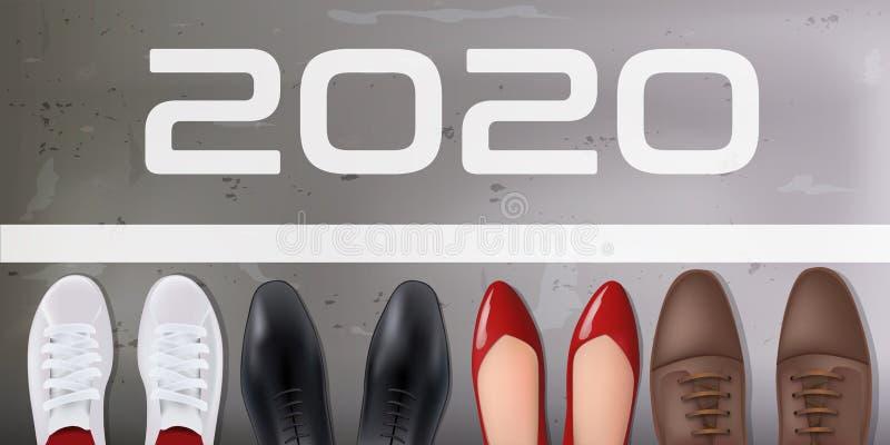 Cartão de saudação mostrando quatro concorrentes prontos para competir em uma corrida pelo sucesso em 2020 ilustração do vetor
