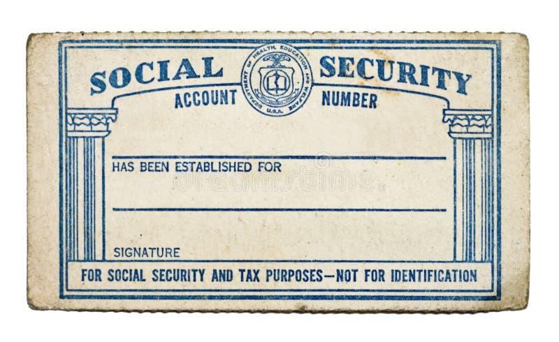 Cartão de segurança social velho imagens de stock