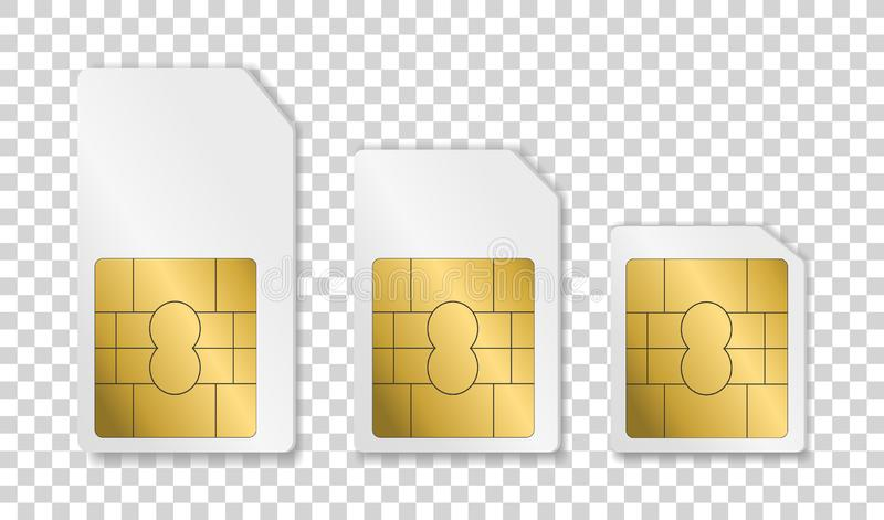Cartão de Sim Cartão do telefone celular Cartão de Sim para telefones diferentes ilustração royalty free