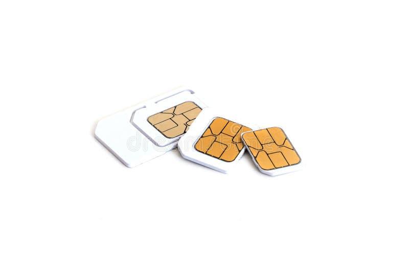 Cartão de Sim e micro simcard para o telefone celular no fundo branco fotografia de stock