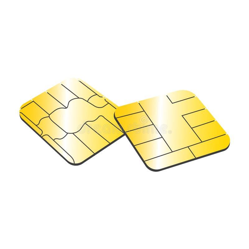 Cartão de SIM ou ilustração do microchip EPS10 do conceito do cartão de crédito sobre ilustração royalty free