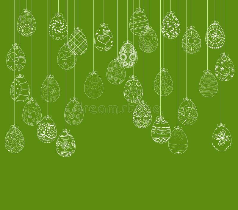 Download Cartão De Suspensão Do Ornamento Dos Ovos Da Páscoa Ilustração do Vetor - Ilustração de feliz, cartão: 65580891