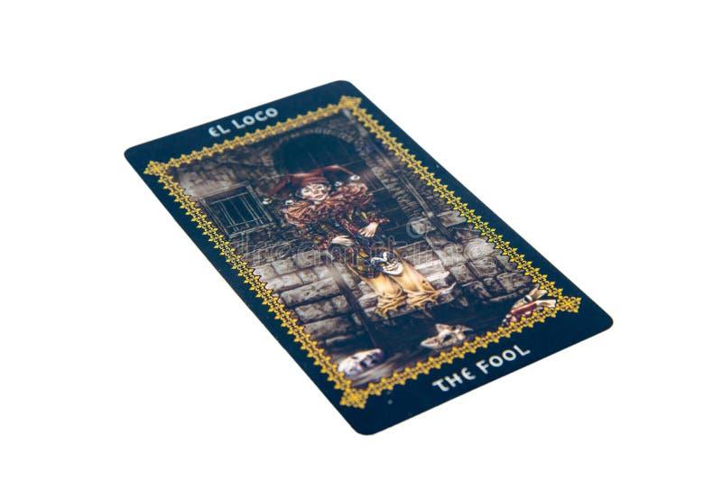 Cartão de tarô o tolo Plataforma do tarô de Favole Fundo esotérico fotos de stock