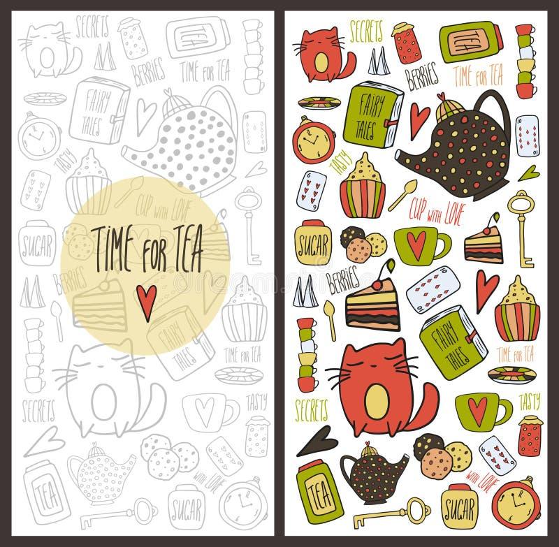 Cartão de tempo do chá ilustração royalty free