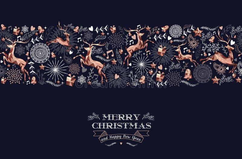 Cartão de teste padrão de cobre do ornamento do Feliz Natal ilustração stock