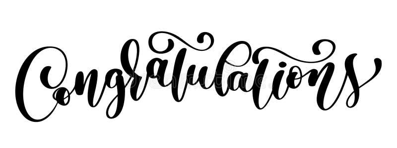 Cartão de texto da rotulação da caligrafia das felicitações com Molde para cumprimentos, felicitações, cartazes da festa de inaug ilustração royalty free