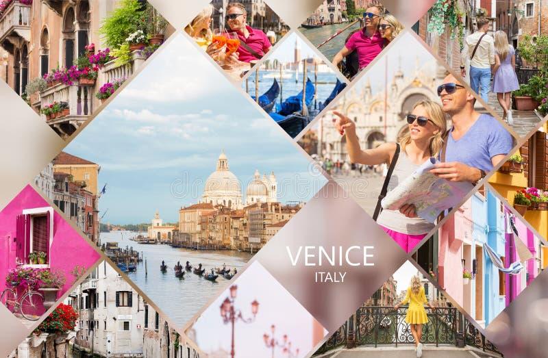 Cartão de Veneza, grupo de fotos diferentes do curso da cidade italiana famosa foto de stock
