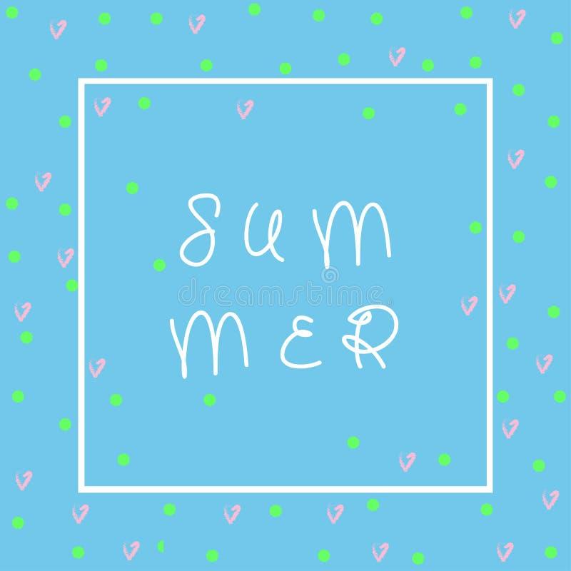 Cartão de verão bonito Aperfeiçoe para o convite, scrapbooking, a Web, o cartão, o blogue, a venda, a tampa do calendário, as not ilustração do vetor