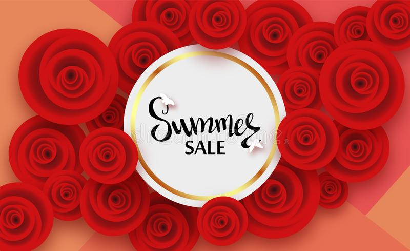 Cartão de verão com as flores de rosas vermelhas e de sombra, para descontos, vendas, promoções ilustração royalty free
