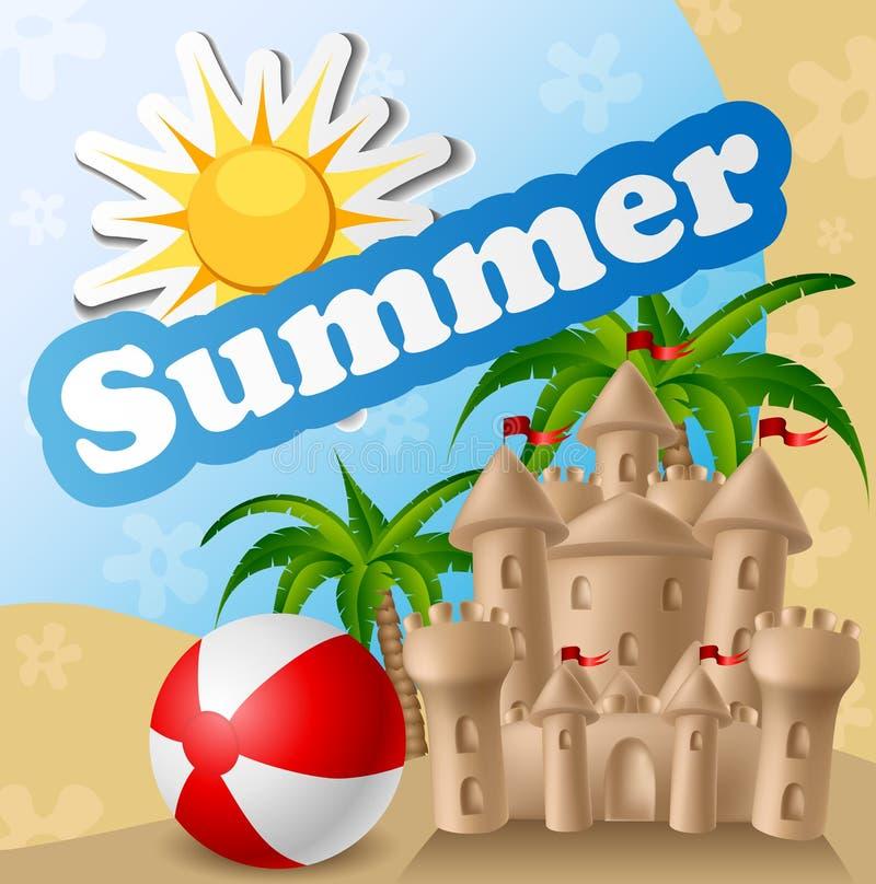 Cartão de verão com castelo de areia e bola imagem de stock royalty free