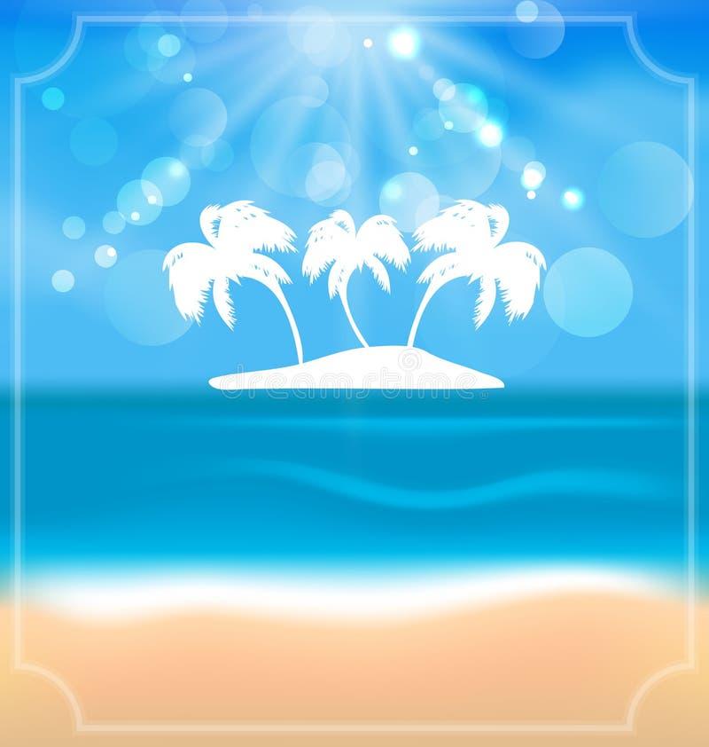 Cartão de verão do feriado com praia e as palmas bonitas ilustração stock