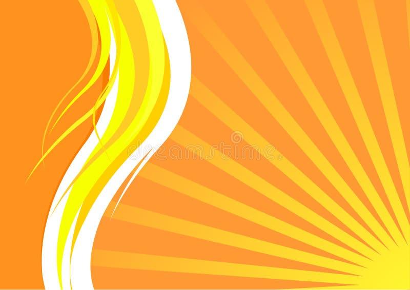 Cartão de verão energético com ondas e sunrays ilustração royalty free