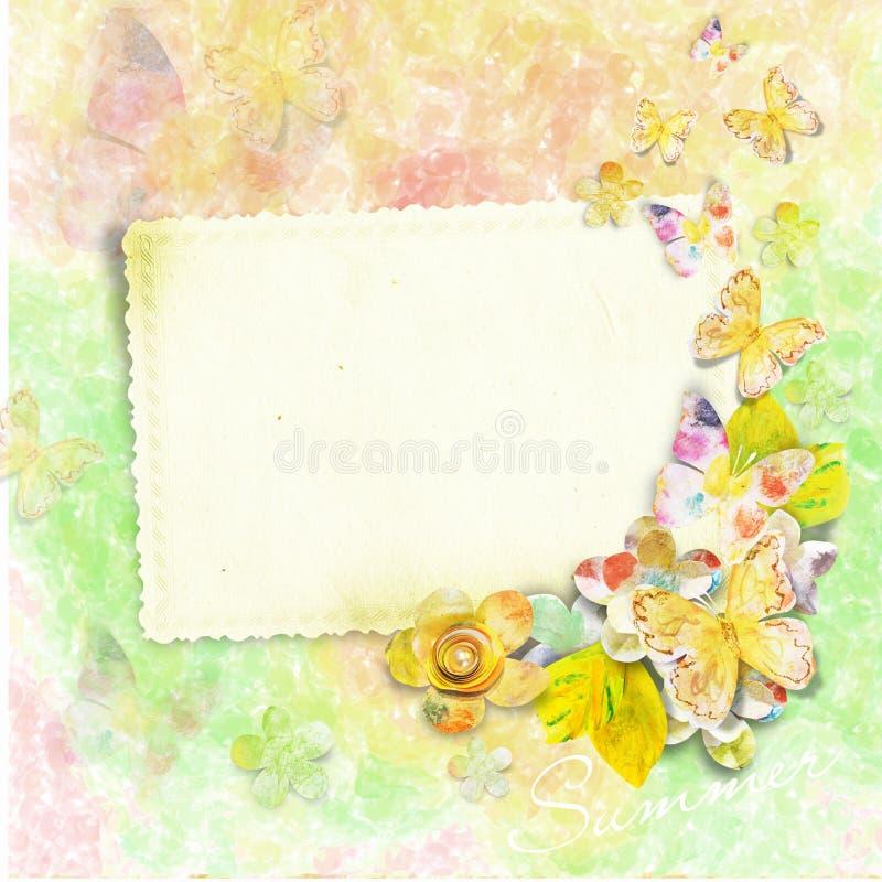 Cartão de verão para a foto ou o texto com borboletas e ilustração stock