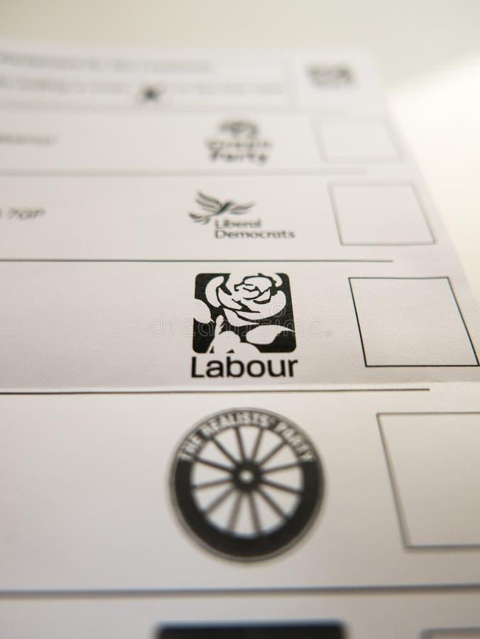Cartão de votação com logotipo Labour foto de stock royalty free