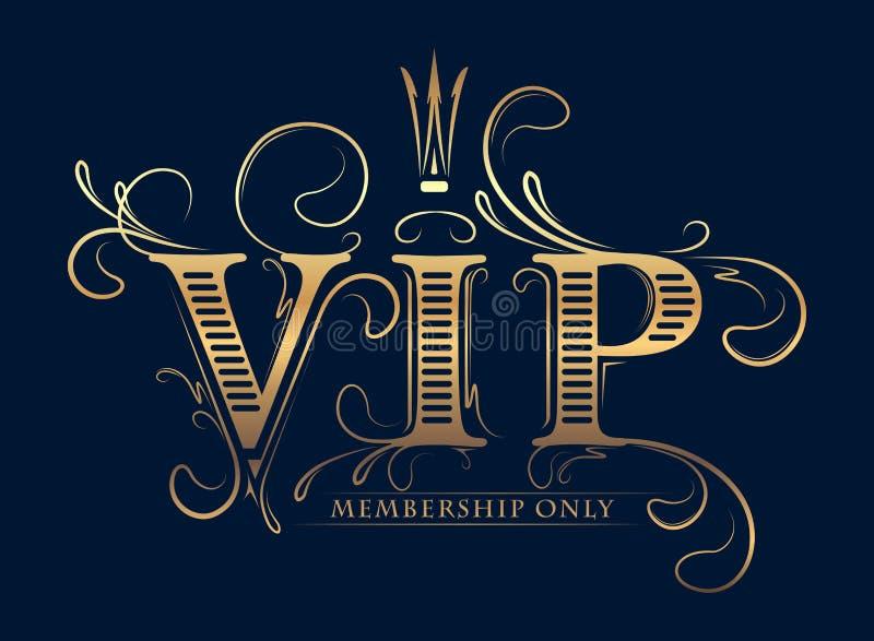 Cartão decorado rico do ouro da sociedade do VIP somente com coroa em um dar ilustração do vetor