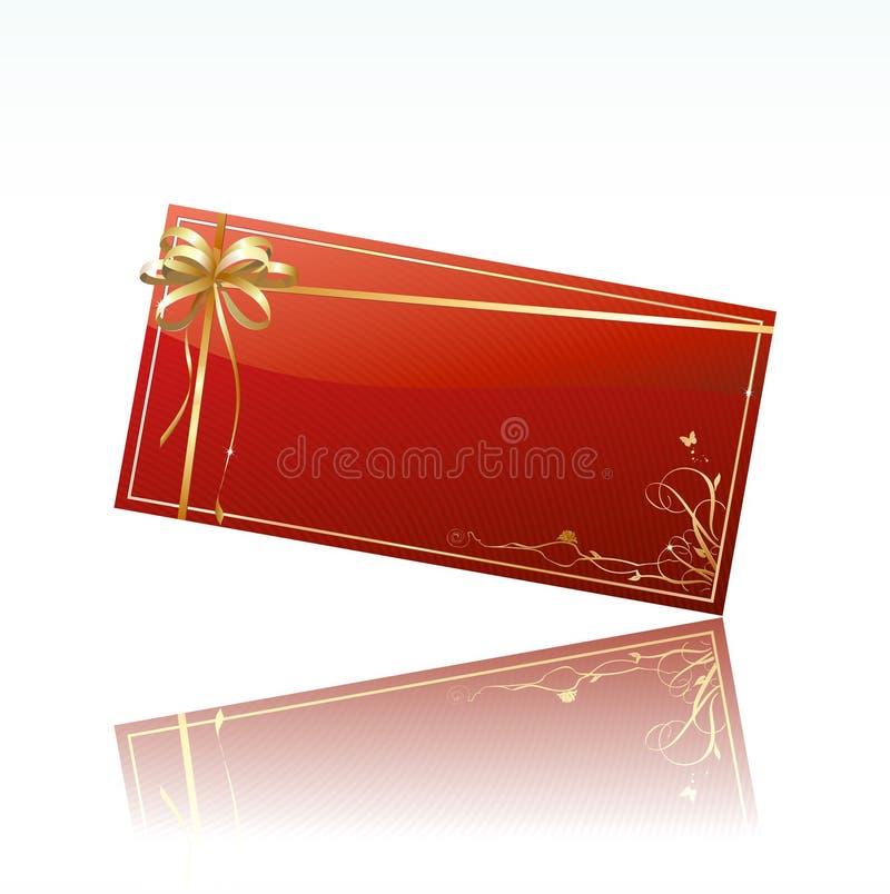 Cartão decorado vermelho do presente ilustração stock