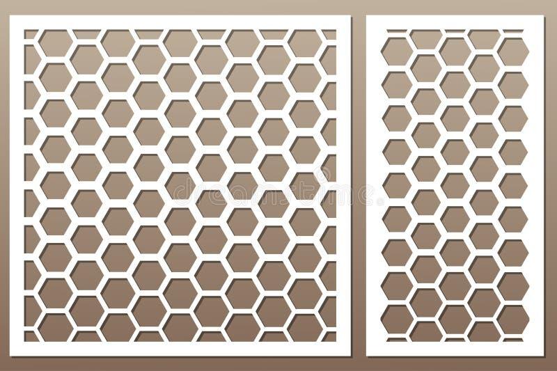Cartão decorativo ajustado para cortar Teste padrão de grade do Pentágono Cu do laser ilustração stock