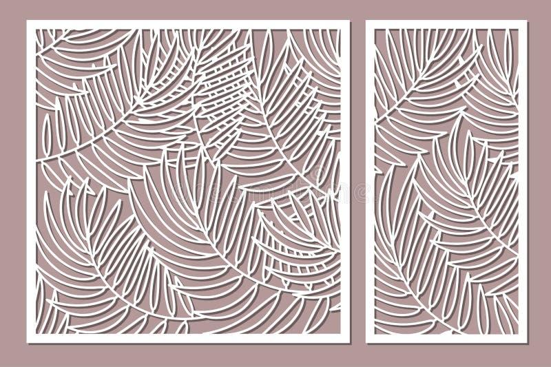 Cartão decorativo ajustado para cortar Teste padrão em folha de palmeira Corte do laser r ilustração stock
