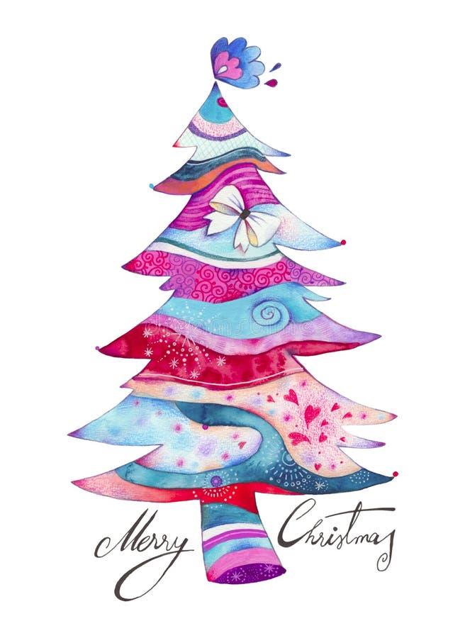 Cartão decorativo da árvore ilustração royalty free
