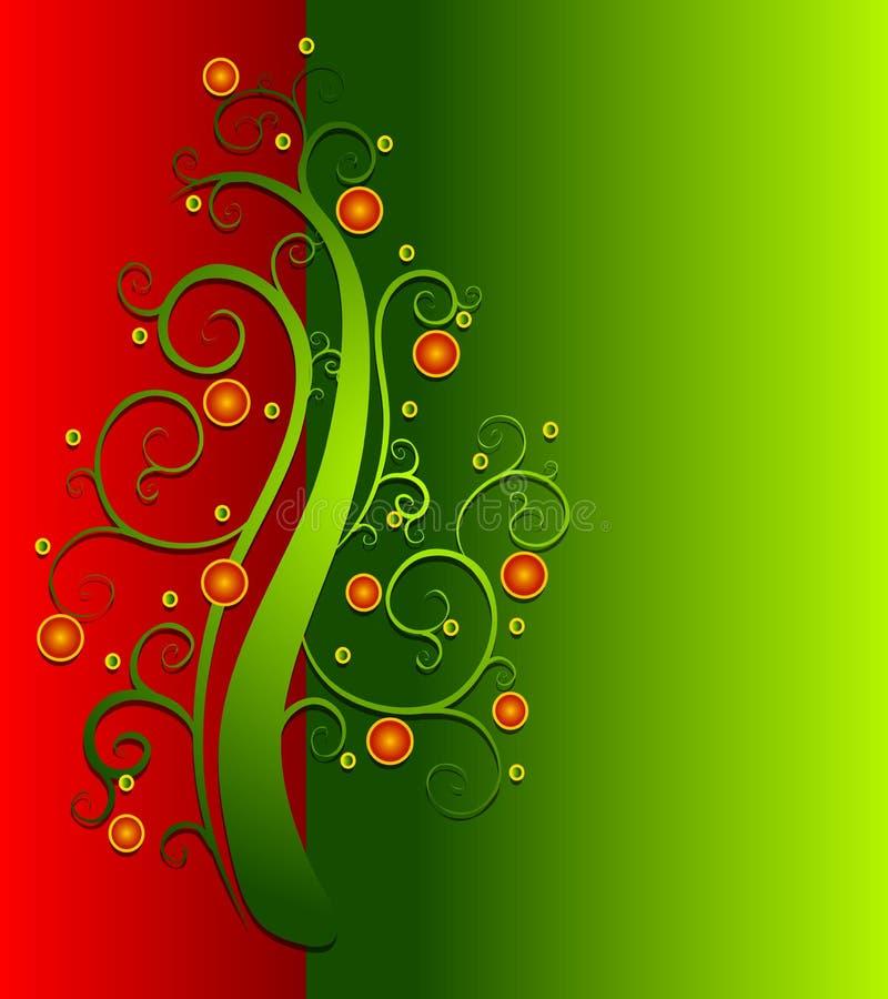 Cartão decorativo da árvore de Natal ilustração do vetor