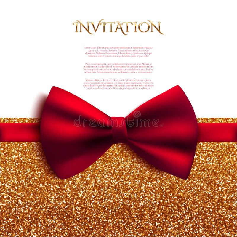 Cartão decorativo do convite com brilho brilhante vermelho da curva e do ouro ilustração stock