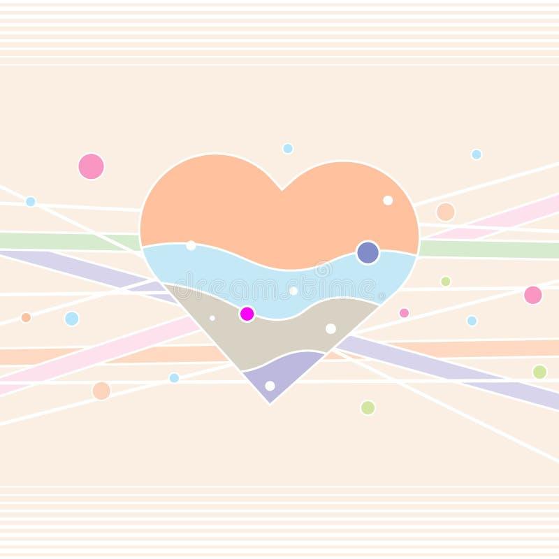 Cartão decorativo do coração Coração dos Valentim Cartão feliz do dia do Valentim s ilustração do vetor