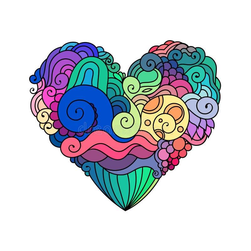 Cartão decorativo do ` s de StValentine com esboço colorido do coração da garatuja do zentangle Coração ondulado tribal étnico do ilustração stock